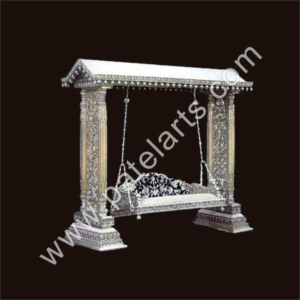 Silver metal swings silver swing jhoola indian silver for Garden jhoola designs