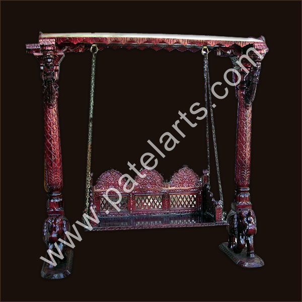 Wooden carved swings wooden swings carved wooden swings for Terrace jhula