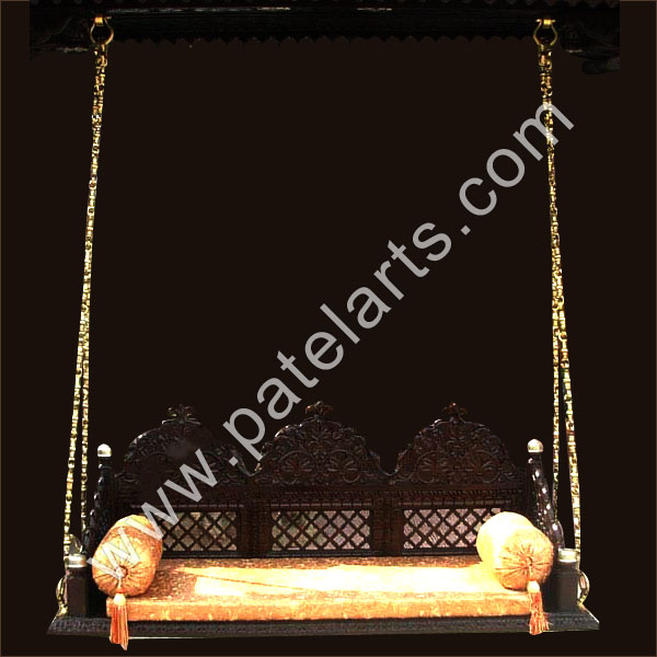 Carved swings teakwood swing manufacturers india for Garden jhoola designs