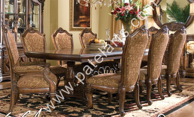 Wooden Dining Set Carved Table