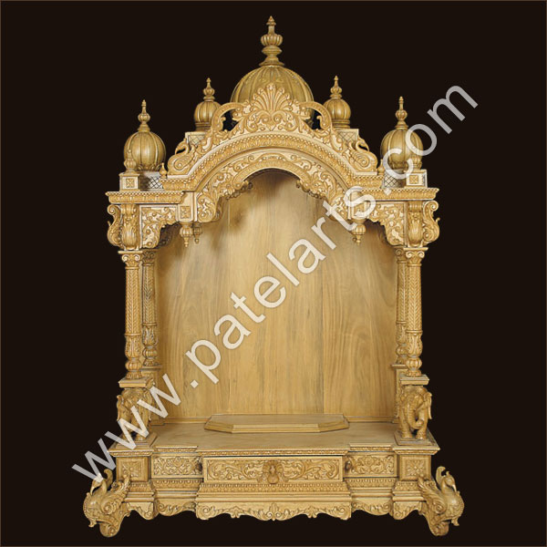 Wooden Carved Teakwood Temple / Mandir, wooden Temple Wooden ...